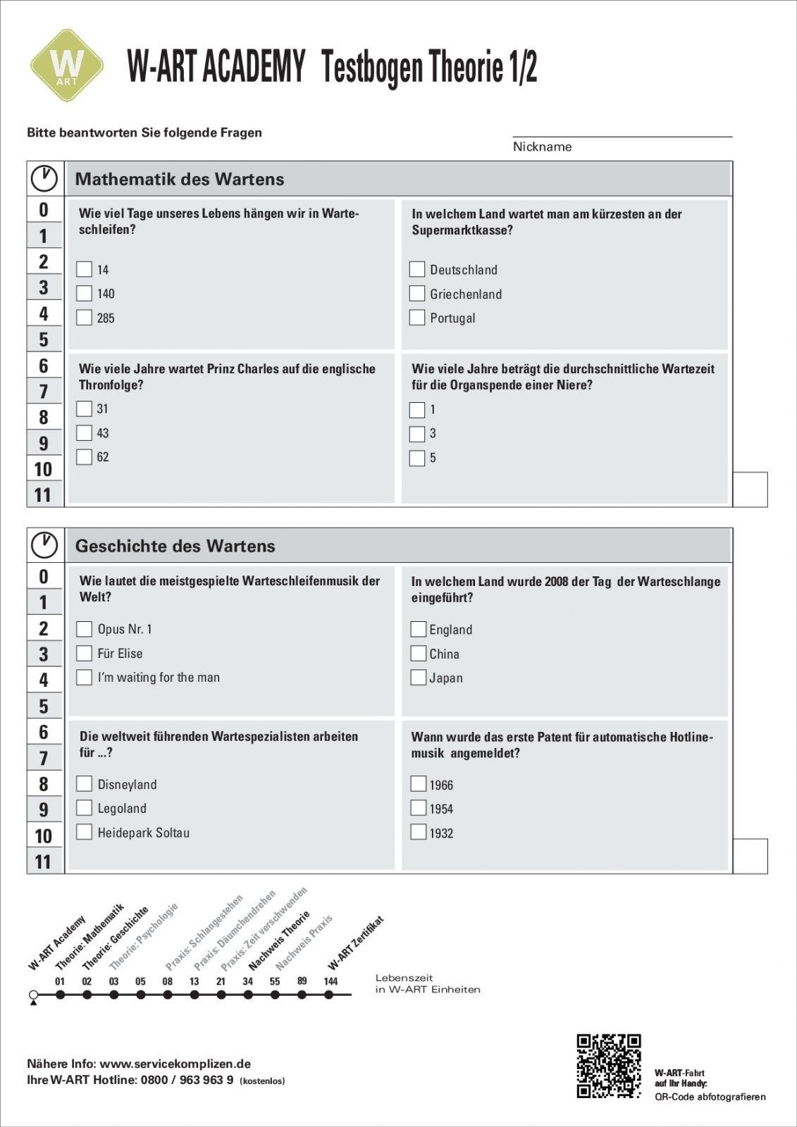 W-ART Academy Fragebogen für Teilnehmer der Servicekomplizen-Servicepioniere-Produktion WART - Die Kunst des Wartens.